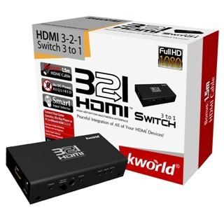 ממתג HDMI אוטומטי עם שלט 3:1 KWORLD