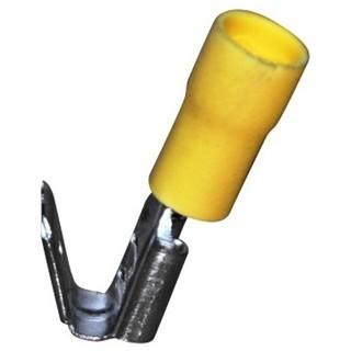 נעל כבל נקבה + לשונית 6.3MM - צהוב - 100 יחידות MULTICOMP
