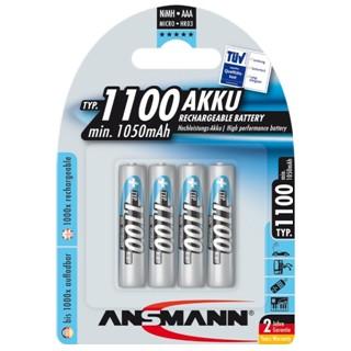 רביעיית סוללות נטענות - ANSMANN - AAA - 1.2V 1100MAH - NIMH ANSMANN