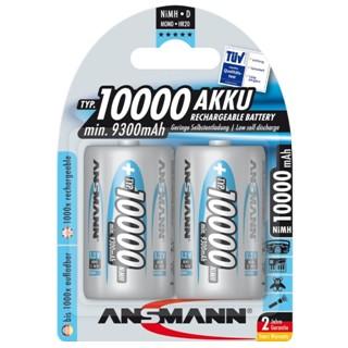 זוג סוללות נטענות - ANSMANN - D - 1.2V 10000MAH - NIMH ANSMANN