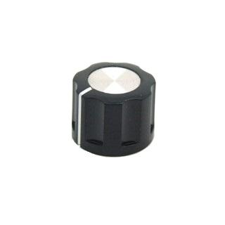 כפתור פלסטיק שחור עם מכסה אלומינים כסוף - 20MM MULTICOMP