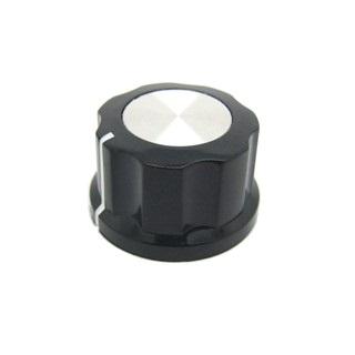 כפתור פלסטיק שחור עם מכסה אלומינים כסוף - 27MM MULTICOMP