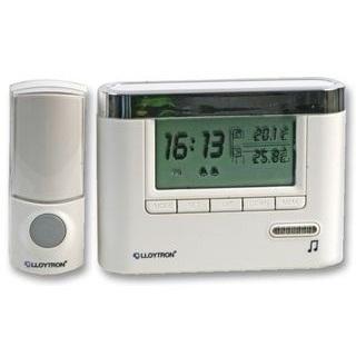 פעמון דלת אלחוטי עם שעון ומד טמפרטורה LLOYTRON