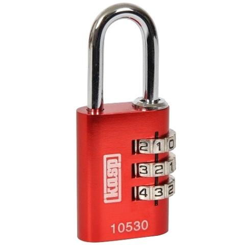 מנעול 3 ספרות (קומבינציה) - 20MM - אדום KASP SECURITY