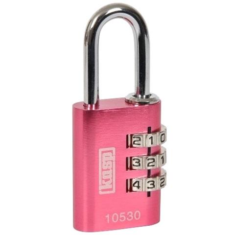 מנעול 3 ספרות (קומבינציה) - 20MM - ורוד KASP SECURITY