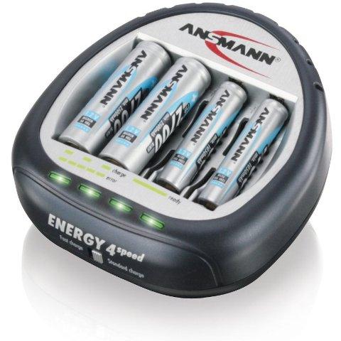 מטען מהיר + 4 סוללות ANSMANN ENERGY 4 SPEED - 2700MAH ANSMANN