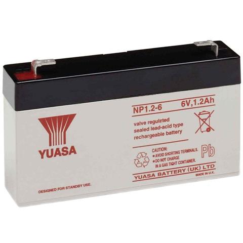 מצבר עופרת נטען - YUASA NP1.2-6 -  6V 1.2AH YUASA