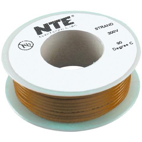 כבל חשמל גמיש לאלקטרוניקה - 26AWG - גליל 7.62 מטר - חום NTE ELECTRONICS