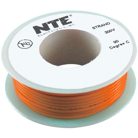כבל חשמל גמיש לאלקטרוניקה - 26AWG - גליל 7.62 מטר - כתום NTE ELECTRONICS