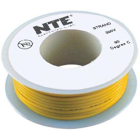 כבל חשמל גמיש לאלקטרוניקה - 26AWG - גליל 7.62 מטר - צהוב NTE ELECTRONICS
