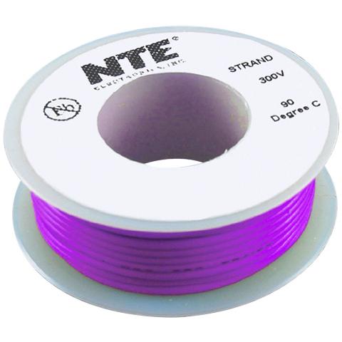 כבל חשמל גמיש לאלקטרוניקה - 26AWG - גליל 7.62 מטר - סגול NTE ELECTRONICS
