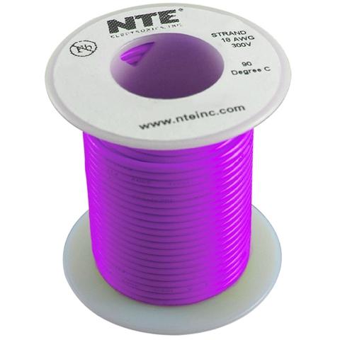 כבל חשמל גמיש לאלקטרוניקה - 26AWG - גליל 30.48 מטר - סגול NTE ELECTRONICS