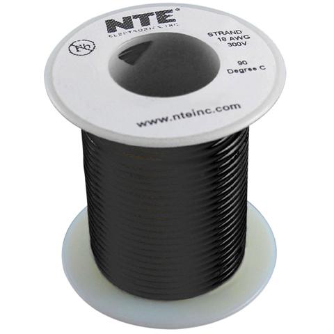 כבל חשמל גמיש לאלקטרוניקה - 24AWG - גליל 30.48 מטר - שחור NTE ELECTRONICS