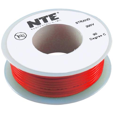 כבל חשמל גמיש לאלקטרוניקה - 24AWG - גליל 7.62 מטר - אדום NTE ELECTRONICS