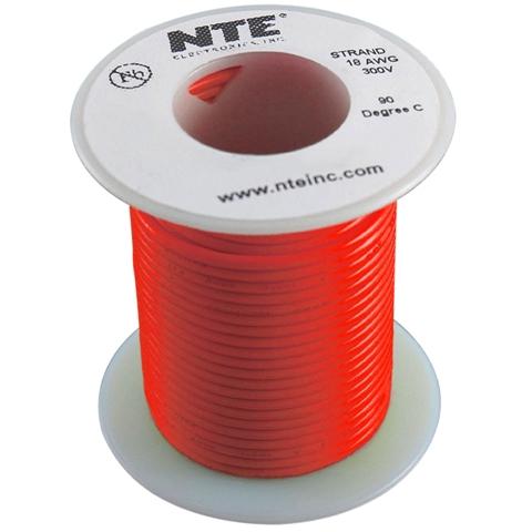 כבל חשמל גמיש לאלקטרוניקה - 24AWG - גליל 30.48 מטר - אדום NTE ELECTRONICS