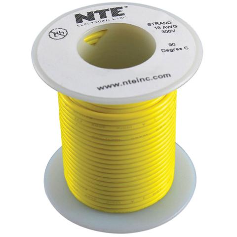 כבל חשמל גמיש לאלקטרוניקה - 24AWG - גליל 30.48 מטר - צהוב NTE ELECTRONICS