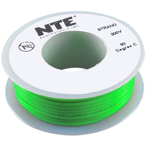 כבל חשמל גמיש לאלקטרוניקה - 24AWG - גליל 7.62 מטר - ירוק NTE ELECTRONICS