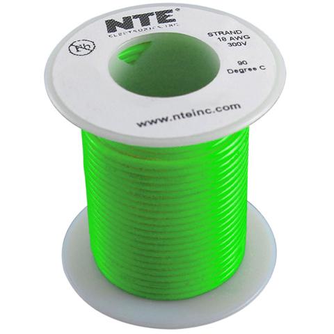 כבל חשמל גמיש לאלקטרוניקה - 24AWG - גליל 30.48 מטר - ירוק NTE ELECTRONICS