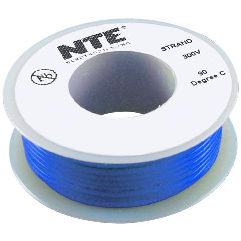 כבל חשמל גמיש לאלקטרוניקה - 24AWG - גליל 7.62 מטר - כחול NTE ELECTRONICS
