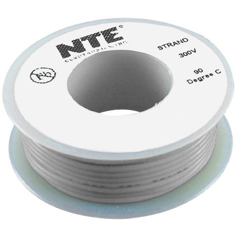 כבל חשמל גמיש לאלקטרוניקה - 24AWG - גליל 7.62 מטר - אפור NTE ELECTRONICS