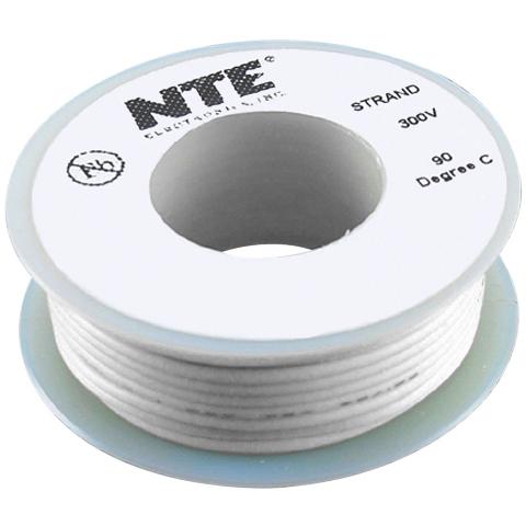 כבל חשמל גמיש לאלקטרוניקה - 24AWG - גליל 7.62 מטר - לבן NTE ELECTRONICS
