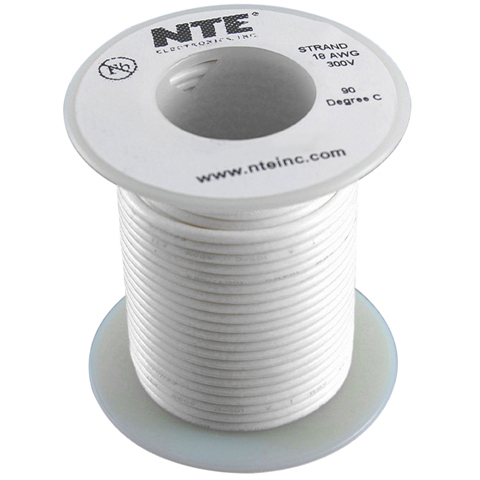 כבל חשמל גמיש לאלקטרוניקה - 24AWG - גליל 30.48 מטר - לבן NTE ELECTRONICS
