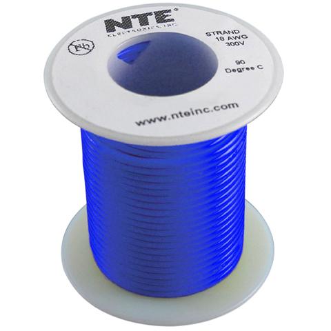 כבל חשמל גמיש לאלקטרוניקה - 22AWG - גליל 30.48 מטר - כחול NTE ELECTRONICS
