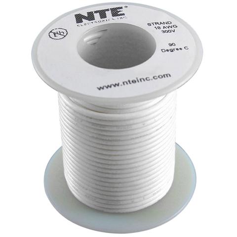 כבל חשמל גמיש לאלקטרוניקה - 20AWG - גליל 30.48 מטר - לבן NTE ELECTRONICS