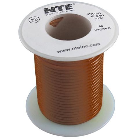 כבל חשמל גמיש לאלקטרוניקה - 20AWG - גליל 30.48 מטר - חום NTE ELECTRONICS