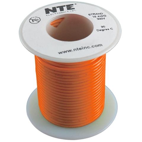 כבל חשמל גמיש לאלקטרוניקה - 18AWG - גליל 30.48 מטר - כתום NTE ELECTRONICS