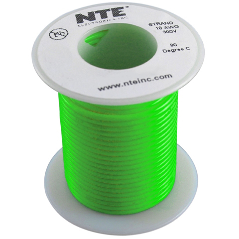 כבל חשמל גמיש לאלקטרוניקה - 18AWG - גליל 30.48 מטר - ירוק NTE ELECTRONICS