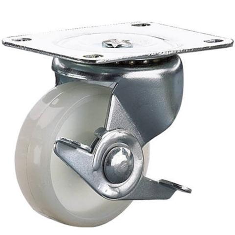 גלגל פלסטיק לבן מסתובב עם מעצור  - 50MM CLARKE