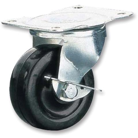 גלגל גומי שחור מסתובב עם מעצור  - 100MM CLARKE