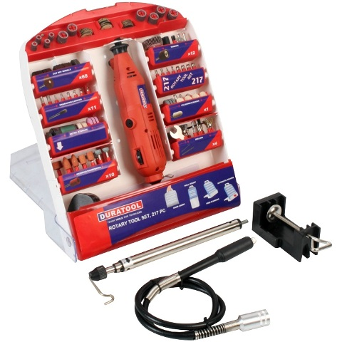 DURATOOL 220V ROTARY TOOL + 217PC ACCESSORIES