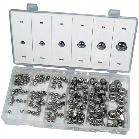 DURATOOL 150PCS DOMED HEX NUT SET