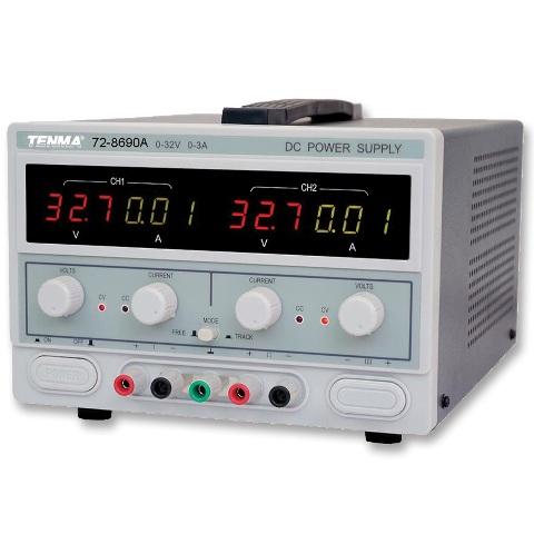 ספק כוח מעבדתי - ADJ - שתי יציאות - (0-32V / 0-3A) TENMA