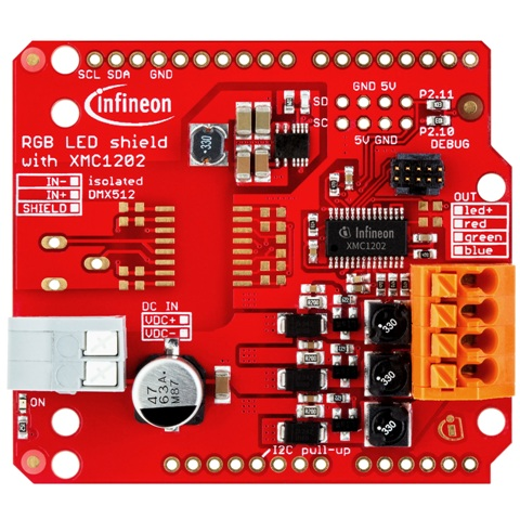 INFENION RGB LED SHIELD FOR THE ARDUINO UNO
