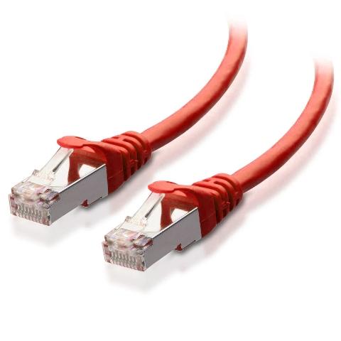 כבל רשת יצוק מסוכך - CAT6A 1M - בידוד אדום VIDEK