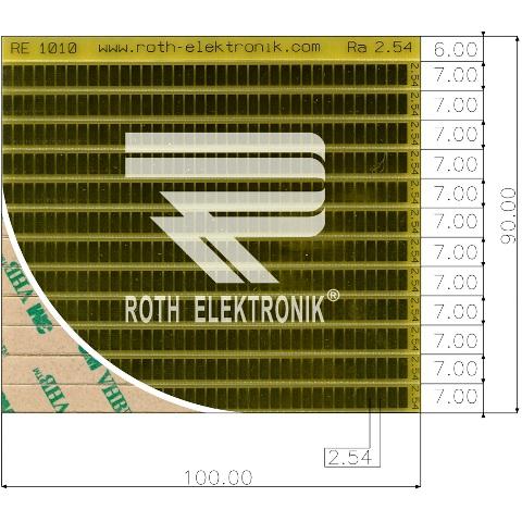 לוח פסי מגעים SMD נדבקים - PITCH 2.54MM ROTH ELEKTRONIK