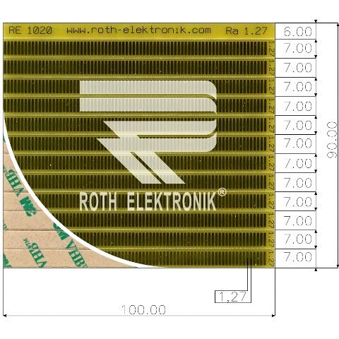 לוח פסי מגעים SMD נדבקים - PITCH 1.27MM ROTH ELEKTRONIK