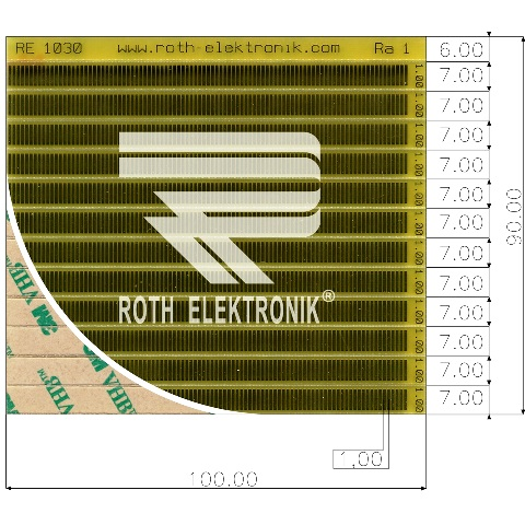 לוח פסי מגעים SMD נדבקים - PITCH 1.00MM ROTH ELEKTRONIK