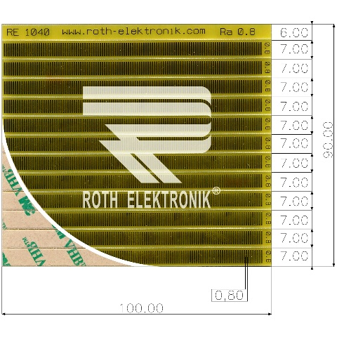 לוח פסי מגעים SMD נדבקים - PITCH 0.80MM ROTH ELEKTRONIK