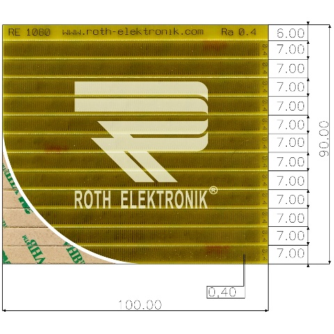 לוח פסי מגעים SMD נדבקים - PITCH 0.40MM ROTH ELEKTRONIK