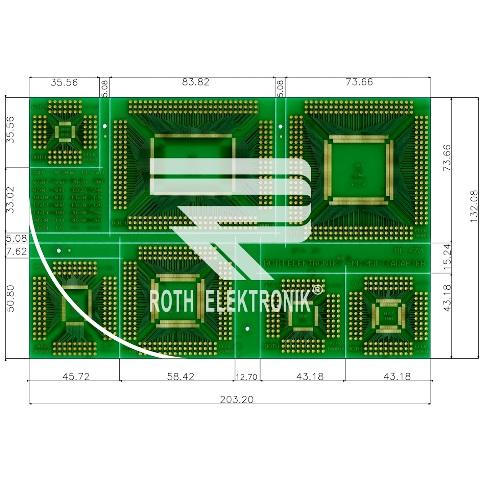 לוח מתאמים לרכיבי QFP ~ DIP - SMD ROTH ELEKTRONIK