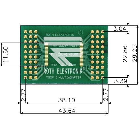 לוח מתאם לרכיבי TSOP I (28-60 PIN) ~ DIP - SMD ROTH ELEKTRONIK