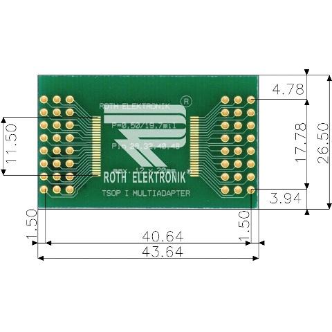 לוח מתאם לרכיבי TSOP I (28-48 PIN) ~ DIP - SMD ROTH ELEKTRONIK