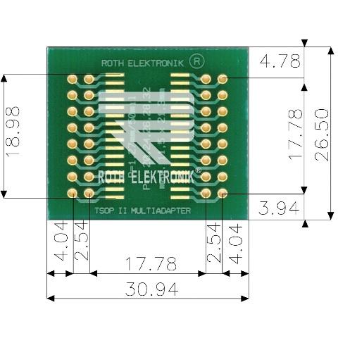 לוח מתאם לרכיבי TSOP II (20-32 PIN) ~ DIP - SMD ROTH ELEKTRONIK