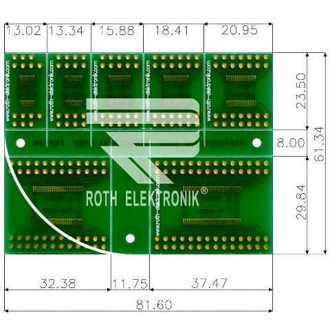 לוח מתאמים לרכיבי SSOP ~ DIP - SMD ROTH ELEKTRONIK