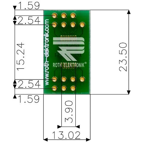 לוח מתאם לרכיבי SSOP-14 ~ DIP - SMD ROTH ELEKTRONIK