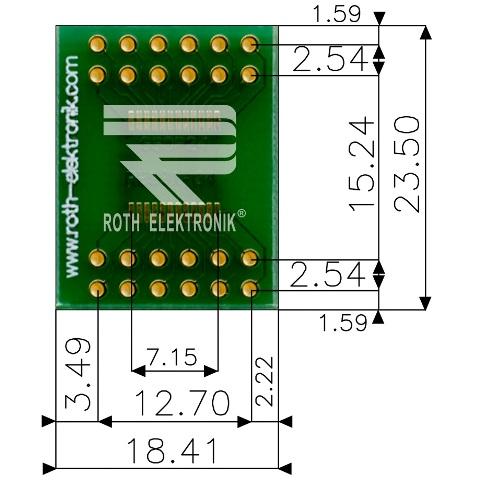 לוח מתאם לרכיבי SSOP-24 ~ DIP - SMD ROTH ELEKTRONIK